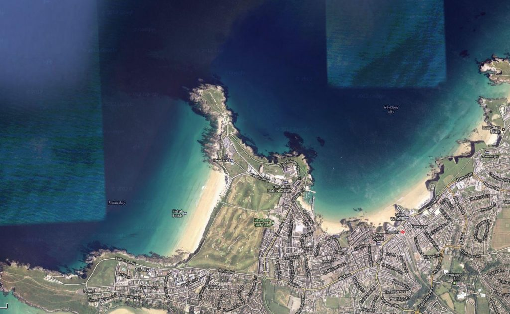 A google map grab to show Newquay and the town beaches