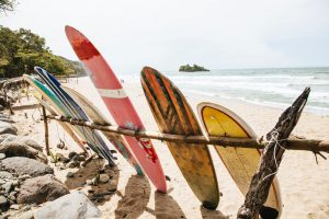 Surfboards on the beach Hawaii